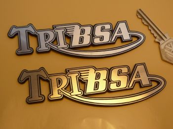 "TriBsa Text Laser Cut Self Adhesive Bike Badges. 4.5"" Pair."