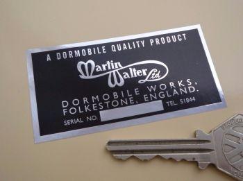 "Dormobile Martin Walter Ltd Dealers Sticker. 3""."