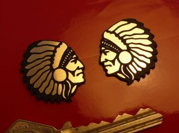 "Indian Chief Short Headdress Laser Cut Self Adhesive Bike Badges. 1"" Pair."