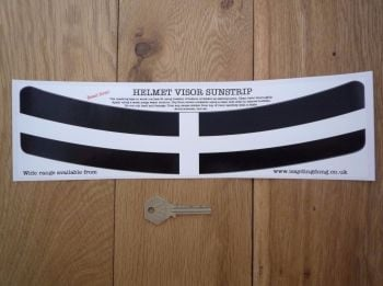 "Cornish Flag Style Helmet Visor Curved Sunstrip Sticker. 12""."