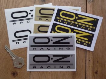 "OZ Racing Oblong Stickers. 3"", 4"", 4.5"", 5"", or 6"" Pair."