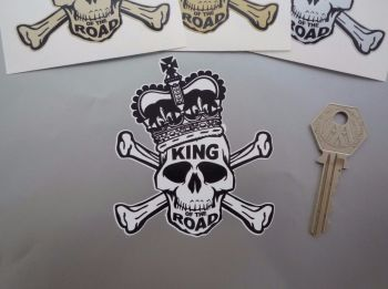 "King Of The Road Skull & Crossbones Sticker. 3.5""."