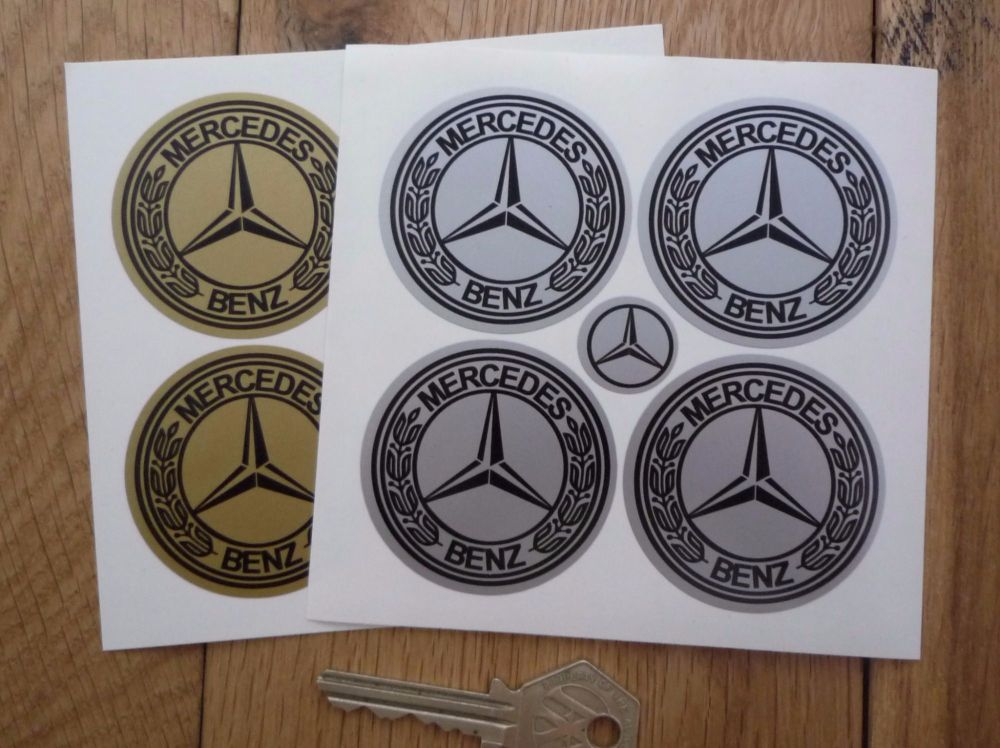 Mercedes-Benz Wheel Centre Stickers. Set of 4. 50mm.