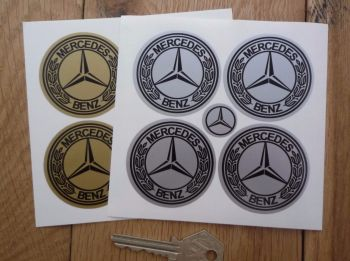 Mercedes Benz Wheel Centre Stickers. Set of 4. Various Sizes.