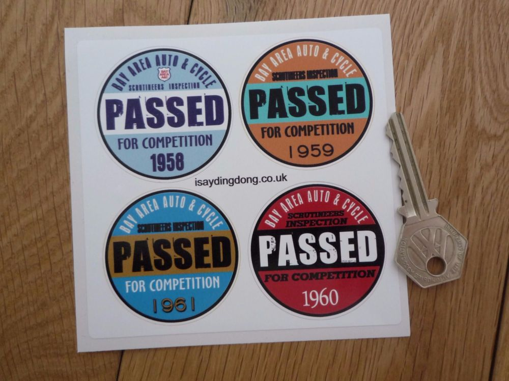"Bay Area Auto & Cycle Scrutineers Stickers. 1958 - 1961. Set of 4. 2""."