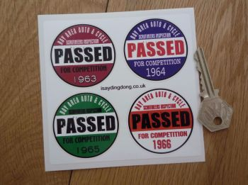 "Bay Area Auto & Cycle Scrutineers Stickers. 1963 - 1966. Set of 4. 2""."