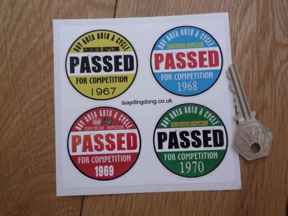 "Bay Area Auto & Cycle Scrutineers Stickers. 1967 - 1970. Set of 4. 2""."