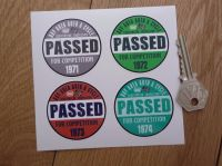 Bay Area Auto & Cycle Scrutineers Stickers. 1971 - 1974. Set of 4. 2