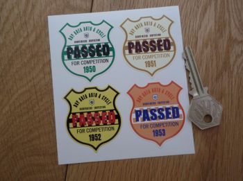 "Bay Area Auto & Cycle Scrutineers Shield Stickers. 1950 - 1953. Set of 4. 2""."