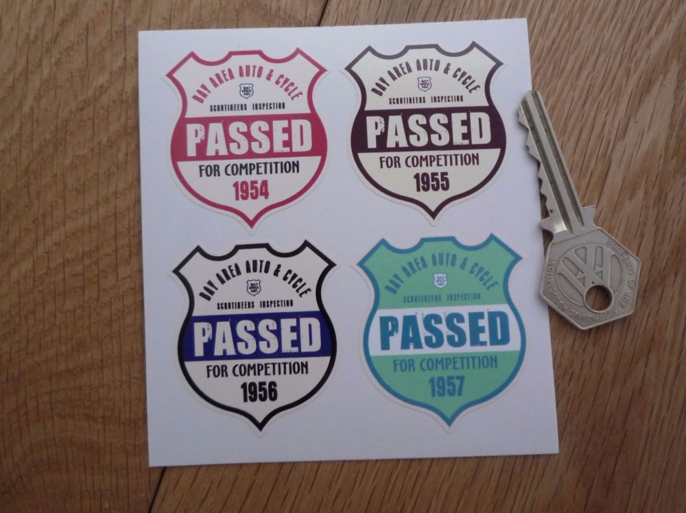 "Bay Area Auto & Cycle Scrutineers Shield Stickers. 1954 - 1957. Set of 4. 2""."