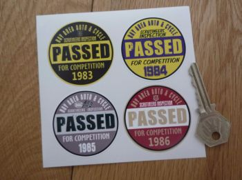 "Bay Area Auto & Cycle Scrutineers Stickers. 1983 - 1986. Set of 4. 2""."