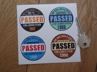"""Bay Area Auto & Cycle Scrutineers Stickers. 1987 - 1990. Set of 4. 2""""."""