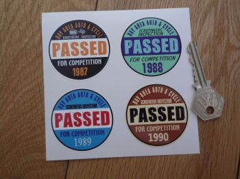 "Bay Area Auto & Cycle Scrutineers Stickers. 1987 - 1990. Set of 4. 2""."
