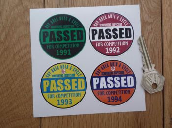 "Bay Area Auto & Cycle Scrutineers Stickers. 1991 - 1994. Set of 4. 2""."