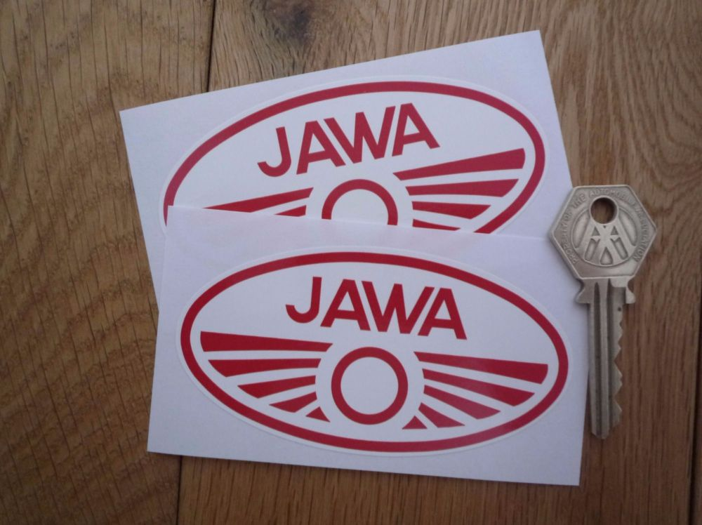 """Jawa Red & White Oval Stickers. 4"""" Pair."""