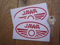 Jawa Red & White Oval Stickers. 4