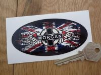 "Morgan Union Jack Fade To Black Oval Sticker. 3"" or 4""."