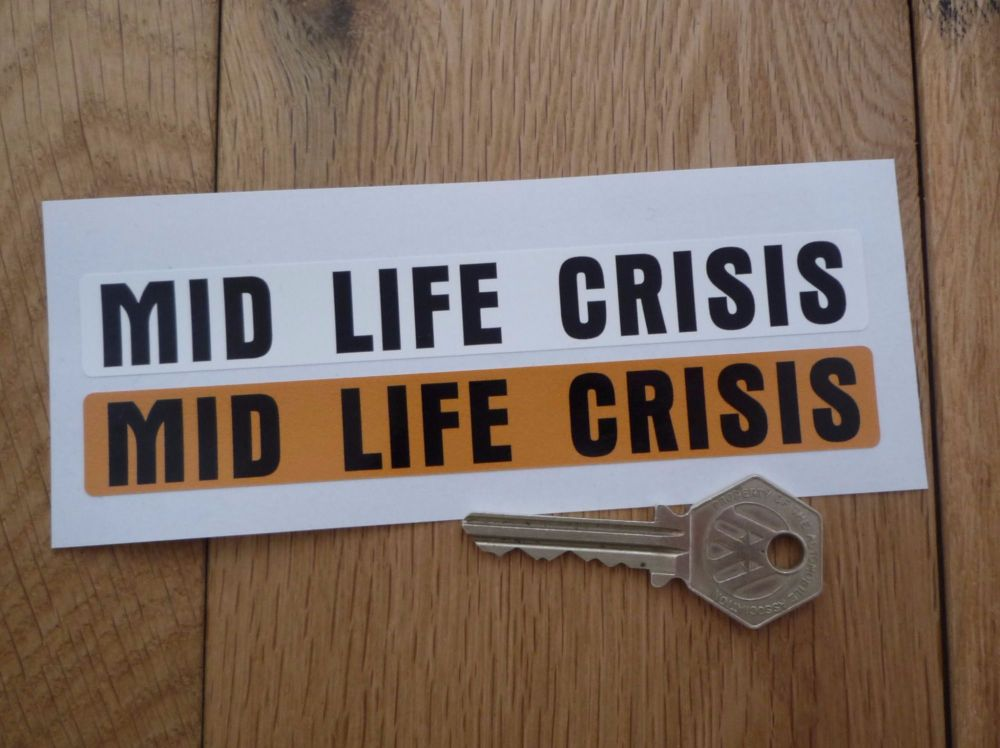 """Mid-Life Crisis Humorous Number Plate Dealer Logo Cover Stickers. 5.5"""" Pair."""