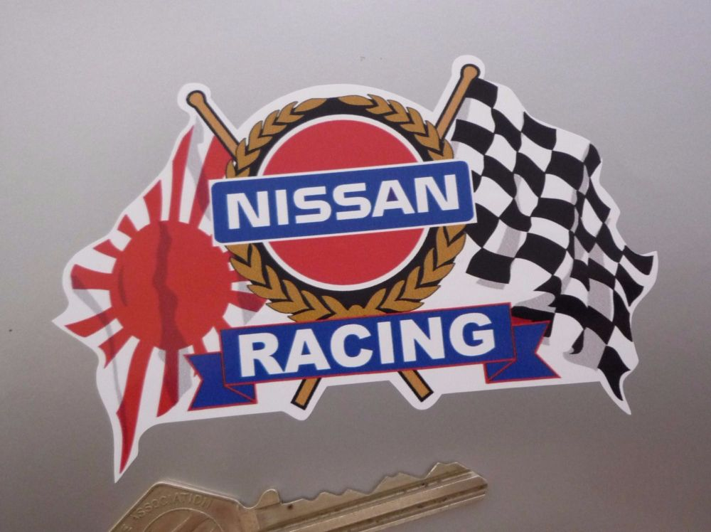 """Nissan Racing Japanese & Chequered Flags & Scroll Sticker. 4""""."""