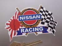 Nissan Racing Japanese & Chequered Flags & Scroll Sticker. 4