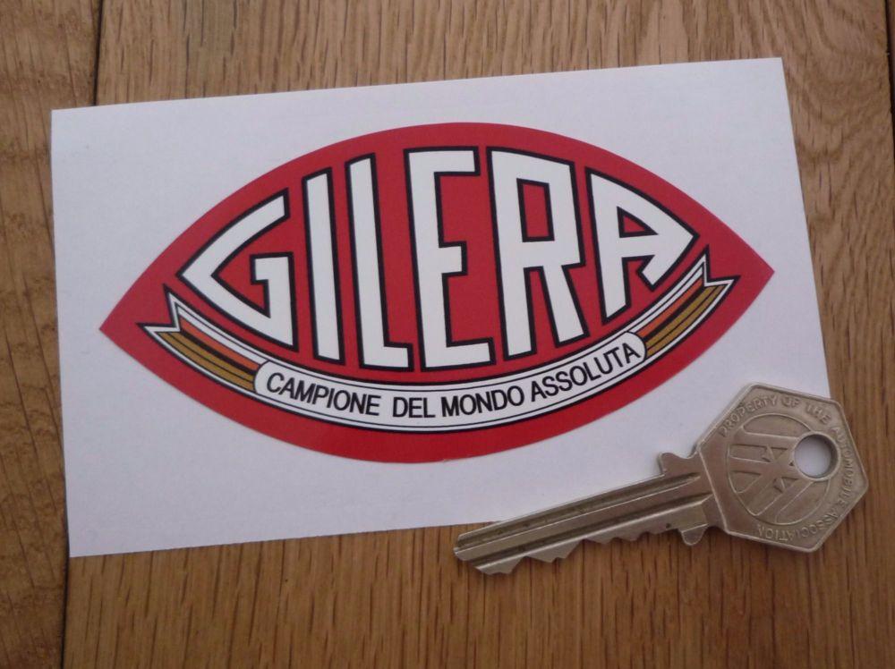 """Gilera Campione Del Mondo Assoluta Red Shaped Sticker. 4""""."""