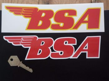 """BSA Shaped Red Centred Text Stickers. 9"""" Pair."""