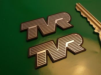"TVR Laser Cut Self Adhesive Car Badges. 2"" Pair."