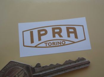 "IPRA Torino Gold & White Oblong Stickers. 2"" Pair."