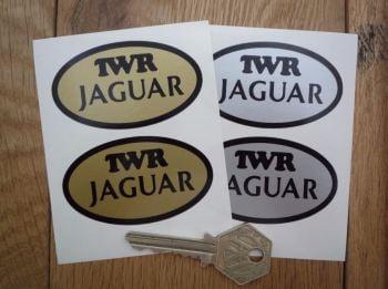 "TWR & Jaguar Oval Stickers. 2.5"" Pair."