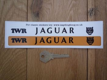 "Jaguar TWR Number Plate Dealer Logo Cover Stickers. 7.5"" Pair."
