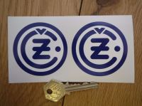 """CZ Blue & White Round Motorcycle Stickers. 2"""" or 2.5"""" Pair."""