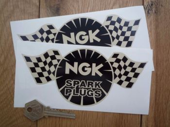 "NGK Spark Plugs Chequered Flag Black & Beige Stickers. 4"" or 6"" Pair."