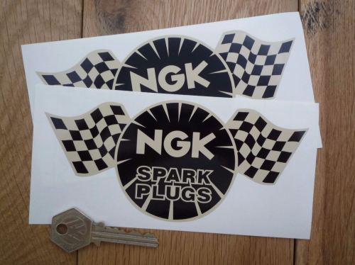 NGK Spark Plugs Chequered Flag Black & Beige Stickers. 4