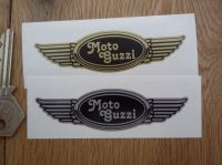 "Moto Guzzi Winged Helmet Sticker. 3.5""."