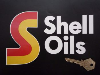 """Shell Oils Cut Text and S Stickers. 7"""" Pair."""