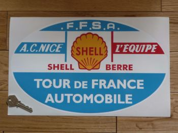 "Tour de France Automobile Oval Rally Plate Style Sticker. 14""."