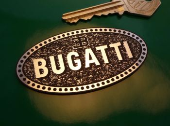 "Bugatti Oval Logo Laser Cut Self Adhesive Car Badge. 3.75""."