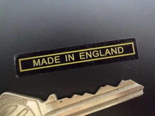 Made in England Text & Outline Sticker. Gold & Clear. 2