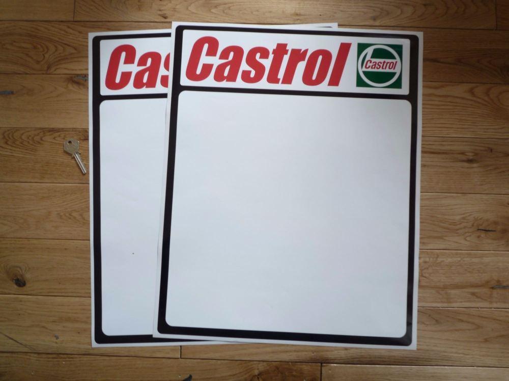 Castrol Race Car Door Panel Sticker Pair. Various Sizes.