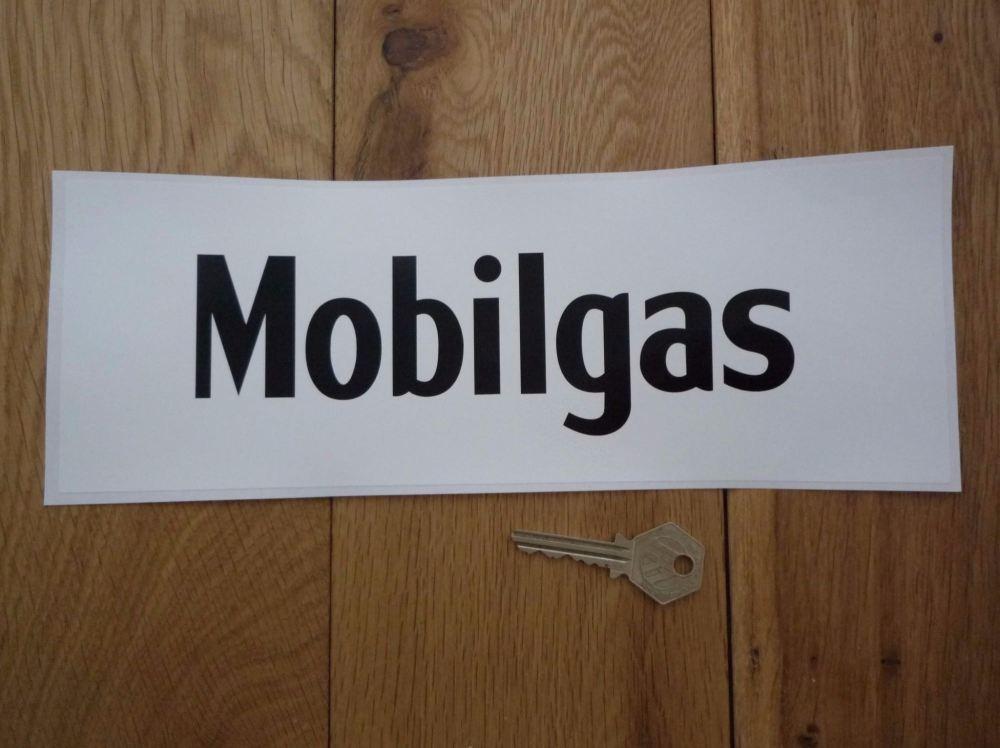 """Mobil Mobilgas Black & White Oblong Sticker. 11""""."""