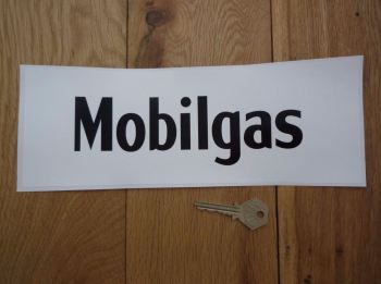 "Mobil Mobilgas Black & White Oblong Sticker. 11""."