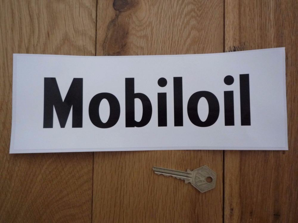 """Mobil Mobiloil Black & White Oblong Sticker. 11""""."""