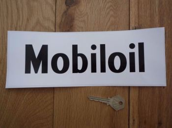 "Mobil Mobiloil Black & White Oblong Sticker. 11""."