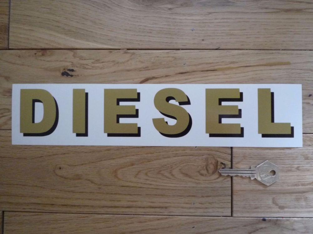 "Diesel Shaded Style Cut Text Petrol Pump Sticker. 12""."