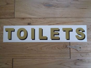 """Toilets Shaded Style Cut Text Sign Sticker. 14""""."""
