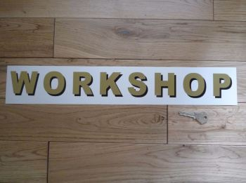 """Workshop Shaded Style Cut Text Sign Sticker. 19""""."""