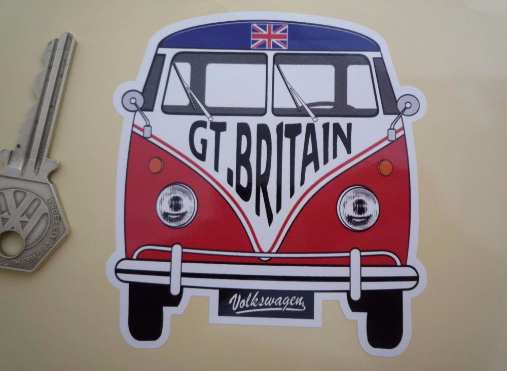 """Great Britain Volkswagen CAMPERVAN Travel Sticker. 3 x 3.5"""""""