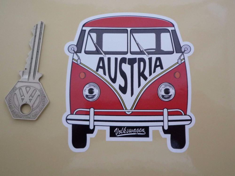 """Austria Volkswagen Campervan Travel Sticker. 3.5""""."""