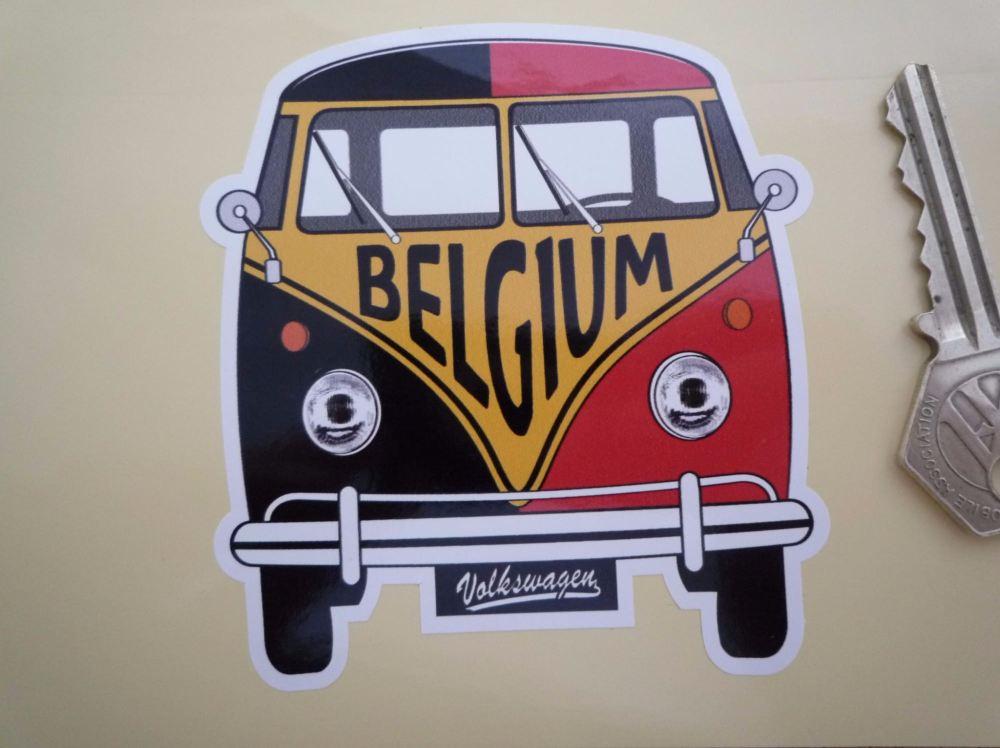 """Belgium Volkswagen Campervan Travel Sticker. 3.5""""."""
