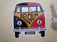 Belgium Volkswagen Campervan Travel Sticker. 3.5